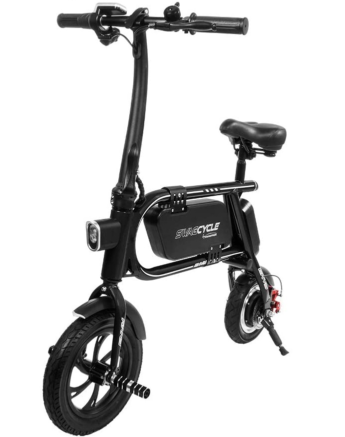 Swagtron Folding Electric SwagCycle - 200W 37V eRide Guides